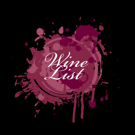 Vector wine list in the form of spots and splashes of red wine with white calligraphic inscription on black background