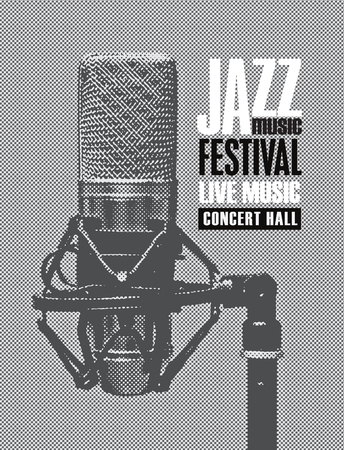 Vector black and white poster for a jazz festival live music with a realistic microphone in retro style