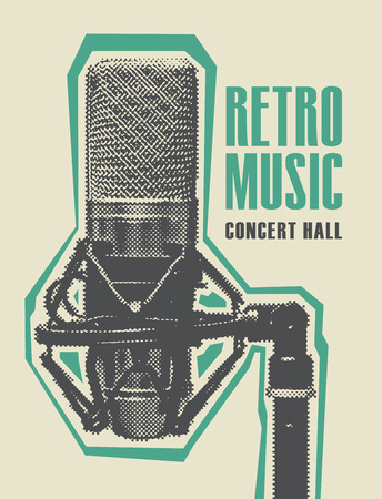 Vector poster for the retro music with a realistic microphone. Music collection, retro sound design Stock Illustratie