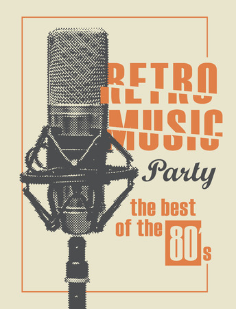 Vector poster for the retro music with a realistic microphone. Music collection, the best of the 80s, retro sound design