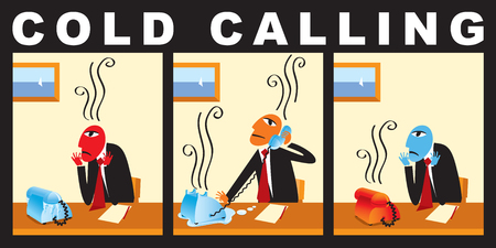 Vector comic with a businessman who makes cold call. Business strategy. A cold calling to the client