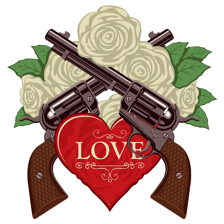 Vector banner on the theme of love and death. Template for clothes, textiles, t-shirt design. Illustration with two old crossed revolvers, heart and white roses isolated on white background