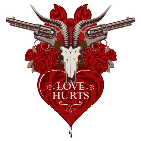 Vector banner on theme of Love Hurts. Template for clothes, textiles, t-shirt design. Illustration with skull of goat, red heart, roses, old revolvers and barbed wire isolated on white background