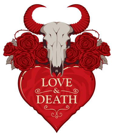 Vector banner with inscription on theme of love and death. Template for clothes, textiles, t-shirt design. Illustration with a skull of bull, red heart, roses and barbed wire  イラスト・ベクター素材
