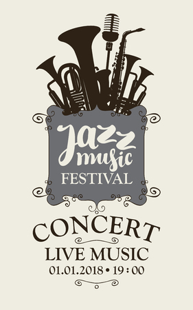 Poster for a jazz festival of live music with silhouettes of saxophone, wind instruments and a microphone in retro style.