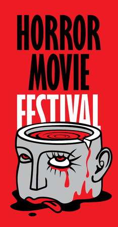 Vector banner for festival horror movie. Severed human head with blood tears in a puddle of blood. Scary movie promotional print. Can be used for advertising, banner, flyer, web design Illustration