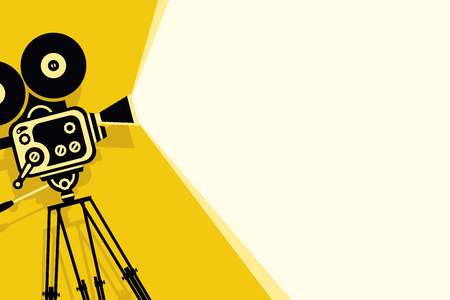 Yellow vector background with lighting old fashioned movie camera on the tripod. Can used for banner, poster, web page, background.
