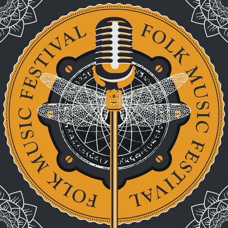 Vector poster or banner for a festival of folk music with a microphone on the background of acoustic speaker with abstract round pattern with a dragonfly in retro style. Illustration