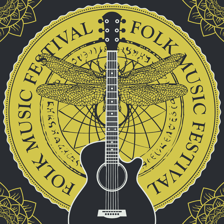 Vector poster or banner for a festival of folk music with a guitar on the background of abstract round pattern with a dragonfly and floral pattern at the corners in retro style. Illustration