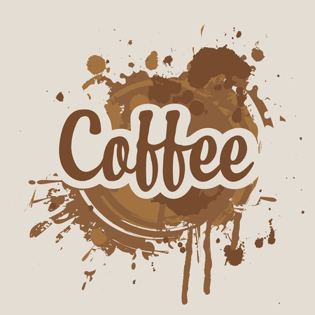 Vector banner on coffee theme with calligraphic inscription on the background of coffee stains and splashes.