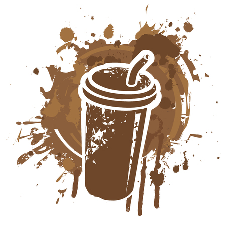 Vector banner on coffee theme with disposable paper coffee cup on the background of coffee stains and splashes in grunge style. Illustration