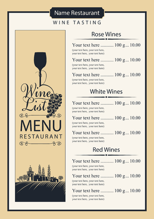 Wine list for restaurant menu with price list and calligraphic inscription. Vector illustration with landscape of vineyards and village, wine glass, grapes and vine