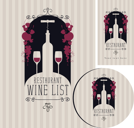 Vector set of design elements for a cafe or restaurant from the wine list, menu, business cards and coasters for drinks with image of bottle, corkscrew and two wineglasses