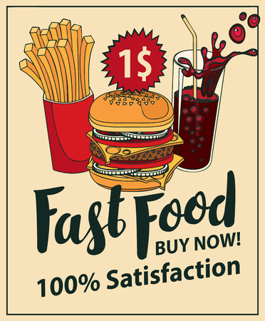 Vector banner for fast food with Burger, French fries and cola in retro style. Pop art illustration with handwritten inscription and price one dollar. Fast food, healthy and unhealthy food Illustration