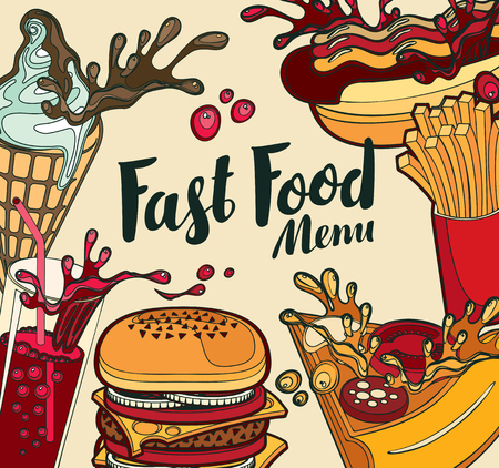 Vector cover of fast food menu with ice cream, cola, Burger, pizza, French fries and hotdog in retro style. Cartoon illustration with handwritten inscription. Fast food, healthy and unhealthy food Illustration