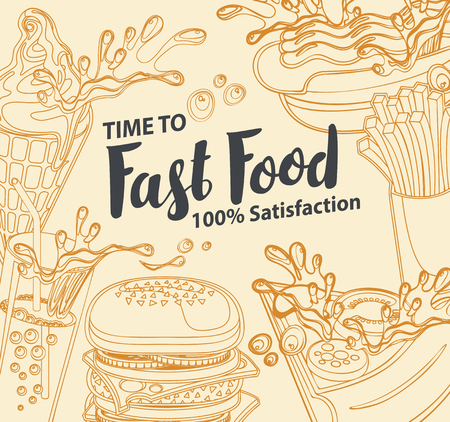 Vector cover of fast food menu with ice cream, cola, Burger, pizza, French fries and hotdog in retro style. Outline drawing with handwritten inscription. Fast food, healthy and unhealthy food Illustration