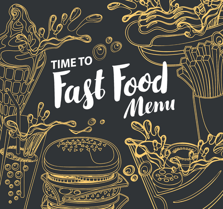 Vector cover of fast food menu with ice cream, cola, Burger, pizza, French fries and hotdog in retro style. Outline drawing with handwritten inscription on black background. Healthy and unhealthy food