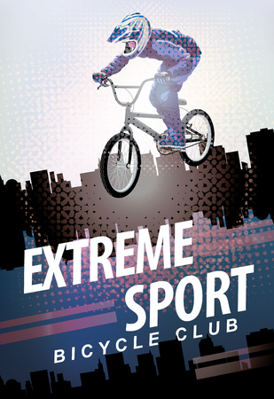 Vector banner or flyer with words Extreme sport and a cyclist on the bike. Abstract poster for bicycle club and promoting extreme mountain biking on urban background