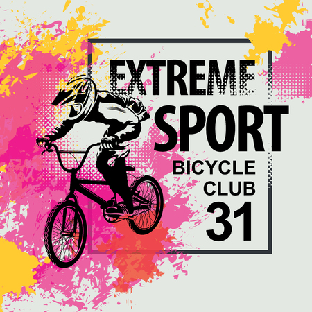 Vector banner or flyer with words Extreme sport and a cyclist on the bike. Abstract poster for bicycle club and promoting extreme mountain biking