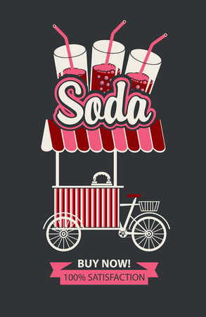 Vector banner with bicycle shop for sale of carbonated drinks in retro style on black background. Street vendor soda, stall on wheels