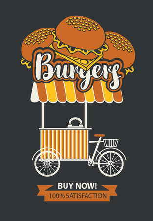 Vector banner with bicycle shop for selling burgers in retro style on black background. Street vendor burgers, stall on wheels. Fast food, healthy and unhealthy food. Illustration