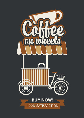 Vector banner with bicycle shop for selling coffee in retro style on black background. Street vendor coffee, stall on wheels.