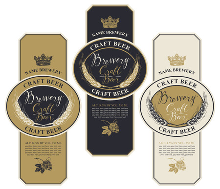 Set of three beer labels with wheat ears, hops, handwritten inscriptions, crown and place for text. Vector labels or banners for craft beer and brewery in retro style