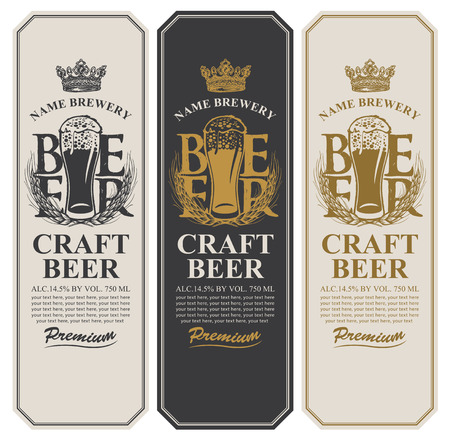 Set of three beer labels with a full glass of beer, wheat ears, crown and place for text. Vector labels or banners for craft beer and brewery in retro style