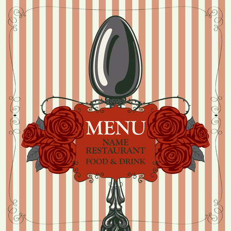 Vector template menu for restaurant with realistic spoon and red barbed roses in figured frame with curls in retro style on striped background Illustration