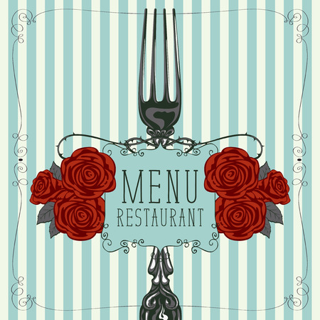 Vector template menu for restaurant with realistic fork and red barbed roses in figured frame with curls in retro style on striped background