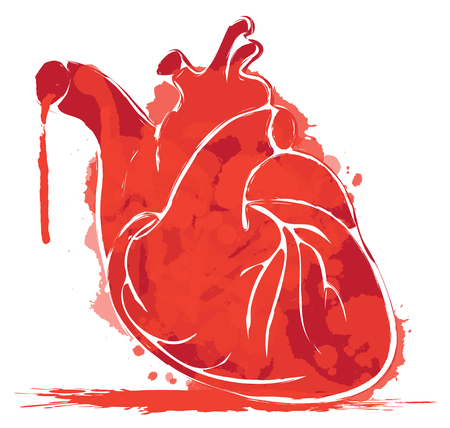 Vector red graphic abstract illustration of human heart with ink blots, drops and drips. Bloody heart with spots and splashes on white background. T-shirt design template