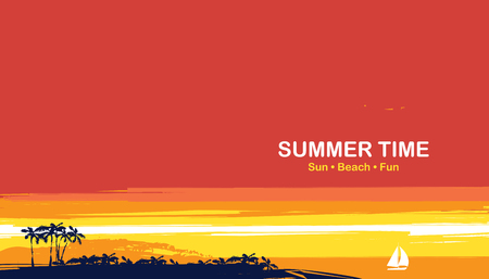 Vector travel banner with words Summer time. Tropical seascape with island silhouettes, palm trees and sailboat at sunset. Summer poster, flyer, invitation, card.