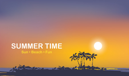 Vector travel banner with words Summer time. Tropical seascape with island silhouettes, palm trees and colorful sky at sunset. Summer poster, flyer, invitation, card.
