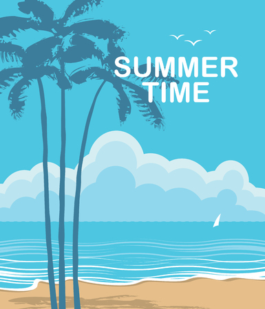 Vector travel banner with words Summer time. Tropical seascape with island silhouettes, palm trees and sailboat. Summer poster, flyer, invitation, card.