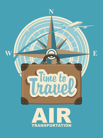 Banner with a travel suitcase and passenger plane against the backdrop of the compass wind rose. Air transportation calligraphic inscription time to travel. Illustration