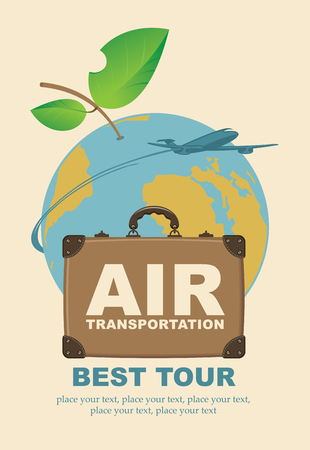 Banner with a travel suitcase and passenger plane against the backdrop of planet Earth in the form of an apple. Air transportation, best tour.