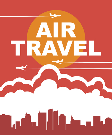 Vector banner for air travel with an airplanes in the sky flying over clouds and skyscrapers of a big city. Aviatransportation.