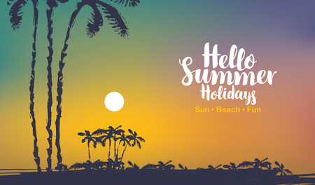 Vector travel banner with calligraphic inscription Hello summer holidays. Tropical seascape with island silhouettes, palm trees and colorful sky at sunset. Summer poster, flyer, invitation, card.