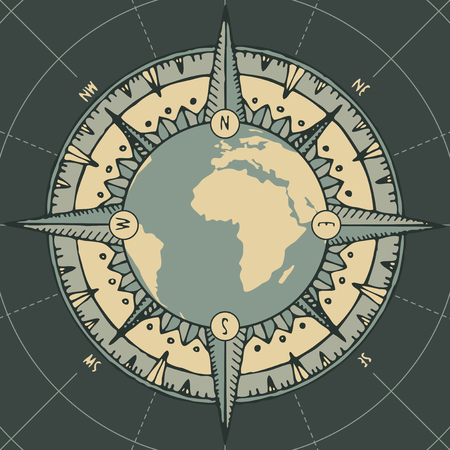Hand-drawn vector banner with planet Earth, wind rose and old nautical compass in retro style.