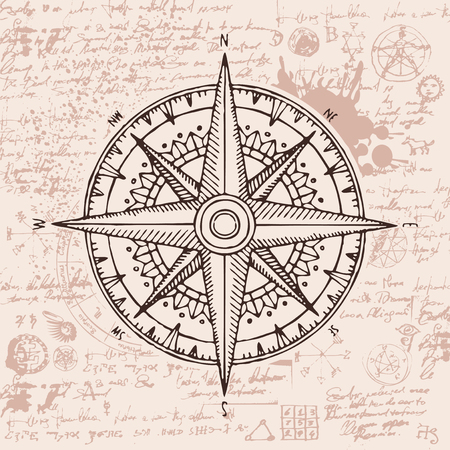 Hand-drawn vector banner with a wind rose and old nautical compass in retro style.