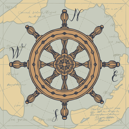 Hand-drawn vector banner with a steering wheel and a wind rose in retro style. Illustration on the theme of travel, adventure and discovery on the background of old map