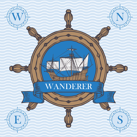 Retro banner with the helm, vintage sailing yacht and the word Wanderer. Vector illustration on the theme of travel, adventure and discovery on the background pattern with waves Stock Illustratie
