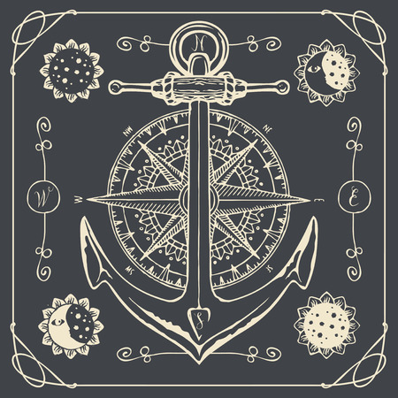 Vector banner with anchor, wind rose, old compass, decorative moons and suns in retro style. Drawing chalk on the blackboard on the theme of travel, adventure and discovery. T-shirt and label graphics Illustration