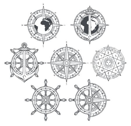 Vector set of nautical emblems. Wind rose, ship anchor and helm in retro style. Black and white outline drawings on the theme of travel, adventure and discovery. T-shirt and label graphics Standard-Bild - 101761552