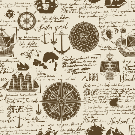 Vector abstract seamless background on the theme of travel, adventure and discovery. Old manuscript with caravels, wind rose, anchors and other nautical symbols with blots and stains in vintage style Vettoriali