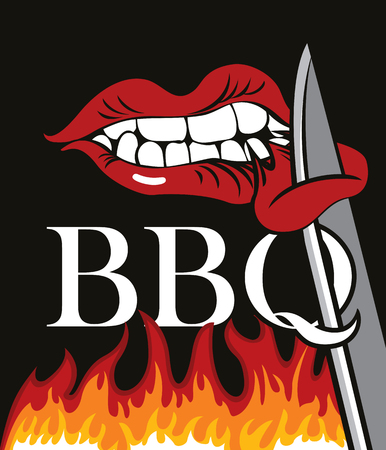 Vector banner with flames and words BBQ. A flat illustration with a human mouth that bites a piece of meat from a sharp knife