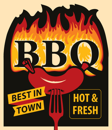 Vector banner with flames and inscription BBQ.