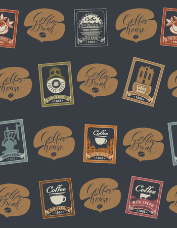 Vector seamless pattern with postage stamps and handwritten inscriptions on coffee and coffeehouse theme in retro style on black background. Can be used as wallpaper or wrapping paper Illustration