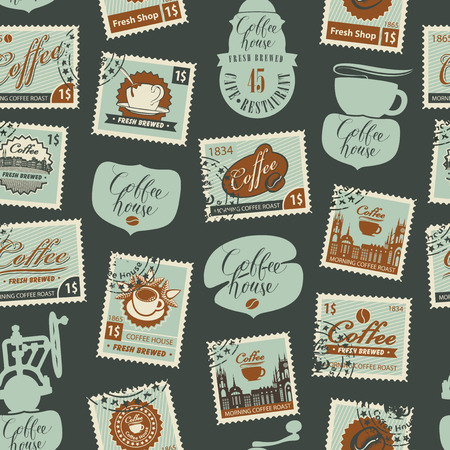 Vector seamless pattern with postage stamps and other coffee symbols on coffee and coffeehouse theme in retro style on black background. Can be used as wallpaper or wrapping paper