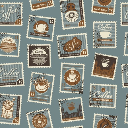 Retro Postage Seamless Background. Vector seamless pattern on coffee and coffee house theme with postage stamps and postmarks in retro style. Can be used as wallpaper or wrapping paper Ilustrace